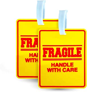 2 Pack - Bright and Large Luggage Tags - Fragile - Handle With Care - 5x4 Inch Size - Great For Luggage or Any Travel Bag