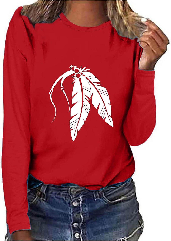 POLLYANNA KEONG Womens Casual Long Sleeve Blouses,Womens Crewneck Vintage Graphic Loose Tunic Shirts Tops Blouses