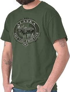 Alaska The Last Frontier T Shirt Mountain Moose Elk Gift Cool T Shirt Tee