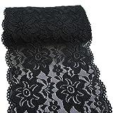 RUSPEPA 15 Centimetri di Tessuto Elastico Nero Pizzo Ricamo Elastico Floreale per Abbigliamento E Rifornimenti Artigianali Fai da Te - 4.5M