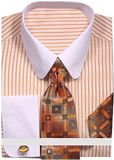 Men's Pinstripe Dress Shirt with Tie Handkerchief Cufflinks