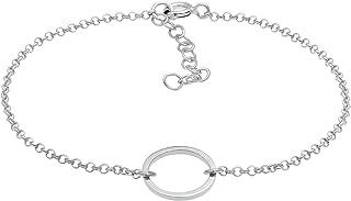 ELLI BY JULIE & GRACE Women 925 STERLING SILVER BASIC CIRCLE GEO LOOK BRACELET, Circle Bead Charm Link Chain Bracelets for...