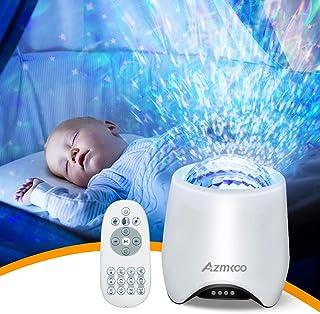 Lampe Projecteur Veilleuse, Azmkoo LED Projecteur Étoile Bluetooth Projecteur Ciel Lecteur Musique à Couleurs Lampe Chevet...