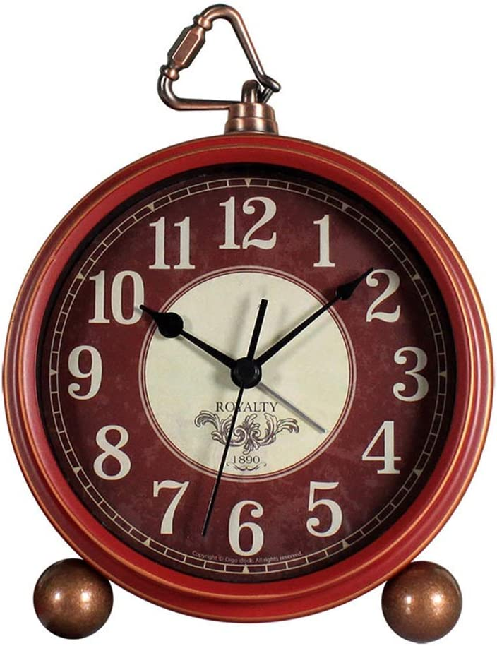 YonCog Decor Table Sale item Clock Retro 5 Year-end annual account Round Red Alarm Mute Inch Metal