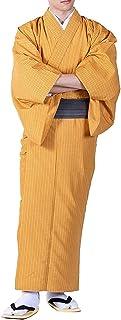 KYOETSU Men's Japanese Hitoe Kimono Stripe Washable (Large, Orange)