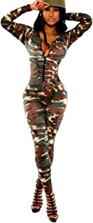 QIYUN.Z Army Green Camouflage Women Deep V-Neck Long Sleeve Bodycon Jumpsuits Rompers…