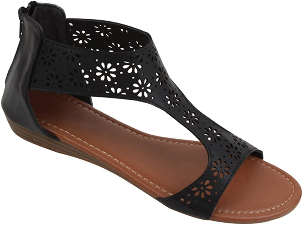 S8A1003B Women's Sandals Under blast sales Roman Gladiator Flats Hollow Flower Shipping included Per