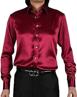 yhuuuuu-dd Men's Night Club Style Satin Button Down Shirt 20 US XXLarge