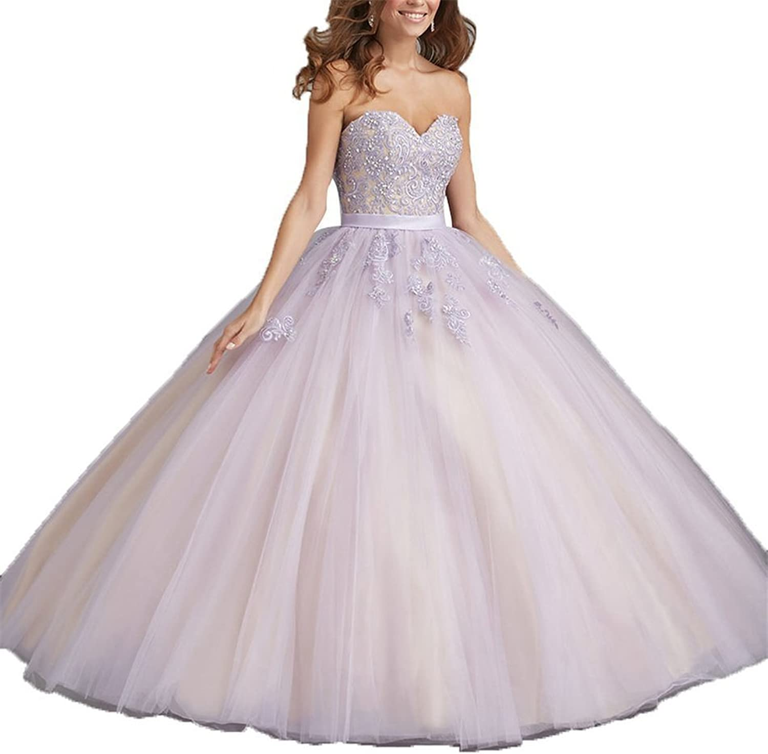 HSDJ Women's Lace Appliques Sweet 16 Prom Ball Gowns Birthday Quinceanera Dresses