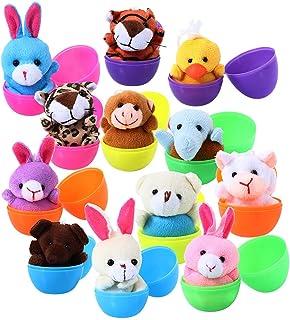 ThinkMax Easter Eggs, 12 Prefilled Bright Plastic Easter Eggs with 12 Mini Plush Animals for Kids Easter Egg Hunt Filler B...