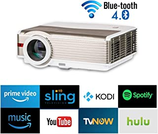 Wireless LED LCD Smart Bluetooth Wifi Android Projector Airplay HDMI WXGA 5000 Lumens Multimedia HD 1080P Home Cinema Outdoor Wireless Bluetooth Movie Projectors for iPhone iPad Smartphone TV DVD PS4