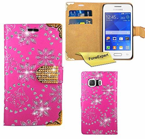 Samsung Galaxy Young 2 Hülle, FoneExpert® Bling Luxus Diamant Hülle Wallet Case Cover Hüllen Etui Ledertasche Premium Lederhülle Schutzhülle für Samsung Galaxy Young 2 SM-G130 + Displayschutzfol (Rosa)