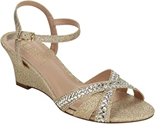 c7445db982b De Blossom Collection FI63 Women s Criss Cross Wedge Prom Sandal Half Size  Small