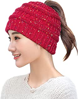 Taidor Messy Bun Ponytail Beanie Hat Colored Dots Cable Knit Cap for Women Girls Winter