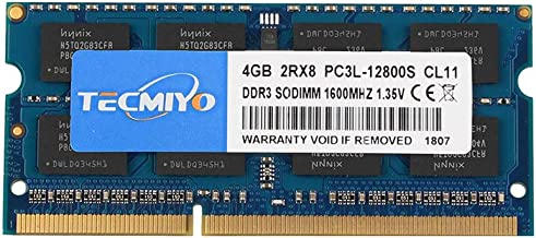 TECMIYO 4GB DDR3 / DDR3L 1600MHz PC3 / PC3L-12800, PC3 / PC3L-12800S Non ECC Unbuffered 1.35V/1.5V CL11 2RX8 Dual Rank 204...