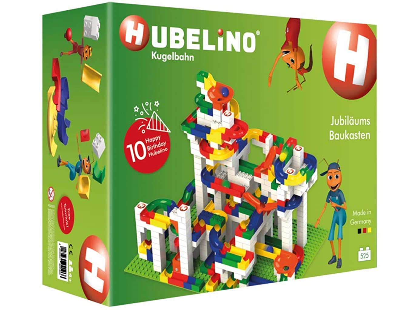 Hubelino Anniversary Building Box - 525 Piece Deluxe Set - The Original! Made in Germany! - Certified and Award-Winning Marble Run - 100% Compatible with Duplo