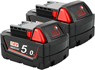 Sponsored Ad – 2 Pack Waitley M18 18V 5.0Ah Replacement Battery Compatible with Milwaukee M18 M18b 48-11-1850 48-11-1840 4...