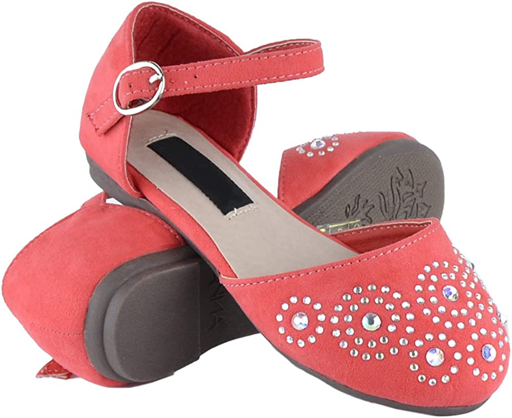 Kids Ballet Flats Rhinestone Studs Quality inspection Strap Girls Ankle Cutout Max 74% OFF Side
