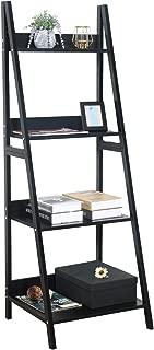 GreenForest Ladder Shelf 4 Tier Bookcase Metal and Wood Bookshelf Home Office Storage Rack Shelf Plant Stand, Black