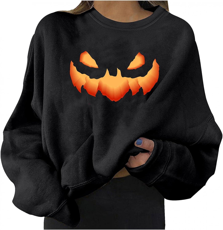 Halloween Sweatshirts for Women Casual Long Sleeve Halloween Funny Pumpkin Emotion Fashion Crewneck Cute Pullover Sweater