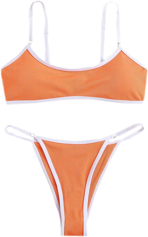 SheIn Women's Cute Binding Swimsuit Wireless Bra and Panty Bikini Bathing Wear