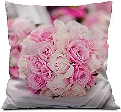 EGOTOU Bouquet, Pink Roses Square Soft Cloth Throw Pillows,Sofa Pillow Waist Pillow (18x18 inch)