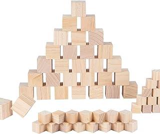 BENECREAT 60PCS Cubos De Madera 3.5x3.5x3.5cm y 2x2x2cm - Bloques Cuadrados Sellos, Artes y Manualidades, Plantillas, Proyectos de Alfabeto y Números y Bricolaje