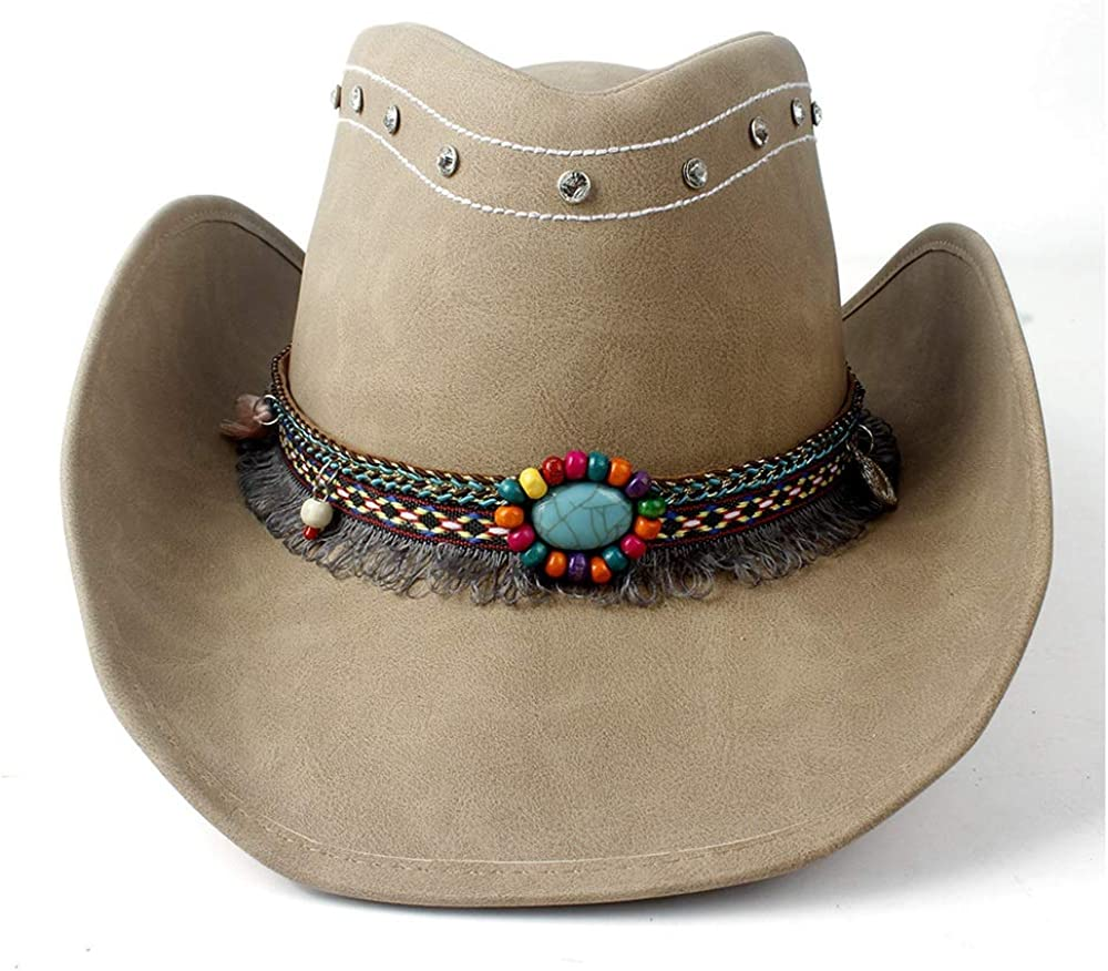 sun hat Women's Men's Leather Cowgirl Hat Max 44% OFF New arrival Fedora Cowboy Western