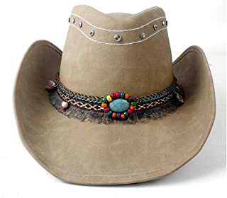 SHENTIANWEI New Women's Men's Leather Cowboy Western Cowgirl Fedora Hat Tassel Turquoise Bead Leather Band