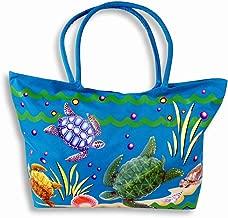 Waterproof Jumbo Blue Canvas Beach Tote Bag Sea Turtle Design Zipper Closure 24 x 15 x 6