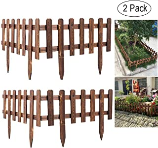Volwco Wooden Picket Fencing,Instant Fence Panels Picket Border Edge Fence,Expanding Freestanding Fence for Lawn, Patio, Festoon, Garden,Residential,Yard,Park,62×35CM