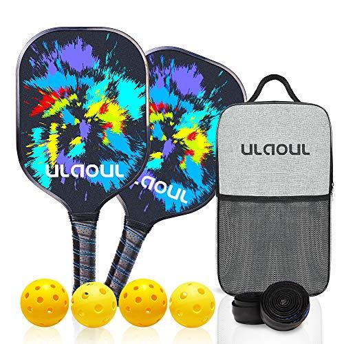 ULAOUL Pickleball Paddles Set of 2 Lightweight Pickleball Rackets Carbon Fiber Surface Polypropylene Honeycomb Core, 4 Pickleball Balls 2 Additional Cushion Grip Strips & 1 Portable Racquet Bag