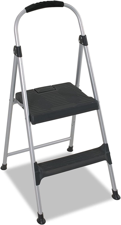 Cosco 11311ABL1E Aluminum Step Stool, 2-Step, 225lb, 18 9 10  Working Height, Platinum Black