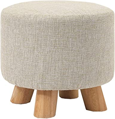 LJFYXZ Upholstered Footstool Ottoman Sofa Stool Breathable Cotton seat Removable and Washable Home Living Room Stool Sturdy Beech Legs Bearing Weight 150kg 29x29x25cm (Color : Beige)