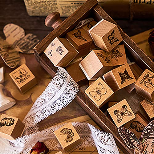 Timbri in Legno Decorativi, 16 Pezzi Timbro di Gomma in Legno, Timbri Vintage Scrapbooking, Legno Timbro Set in Gomma, Farfalla Timbro, per DIY, Riviste, Journal, Confezioni Regalo, Scrapbooking