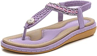 Women's Bohemian T-Strap Flat Flip Flops Sandals Sparkly Rhinestone Comfort Elastic Summer Beach Thong