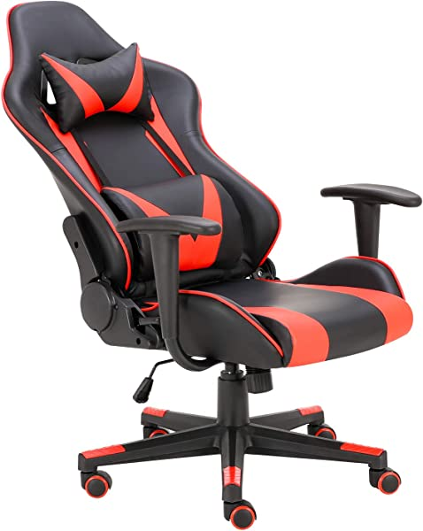 Truker Gaming Chair Office Chair Racing Chair Home Desk Chair Lumbar Support Neck Protection Racing Style 180 Reclining Rocking Function Armrest Computer Chairs Red