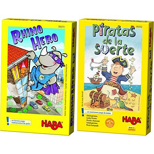 HABA Rhino Hero-ESP (302273) + Piratas de La Suerte ESP (302252)
