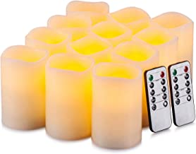 """Best Yutime Flameless Candle Set of 12 (D 3"""" x H 4"""") Battery Operated LED Pillar Real Wax Candles with Remote Control Timer Review"""