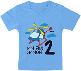 """HARIZ Camiseta para bebé con texto en alemán """"Ich bin Schon Zwei Helicópteros, nubes, 2 cumpleaños, más tarjeta de regalo"""
