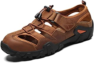 Men Sandals Climbing Sandals for Men Literal Leather Comfortable Breathable Raincoat Lace Up Round Close Toe Comfortable