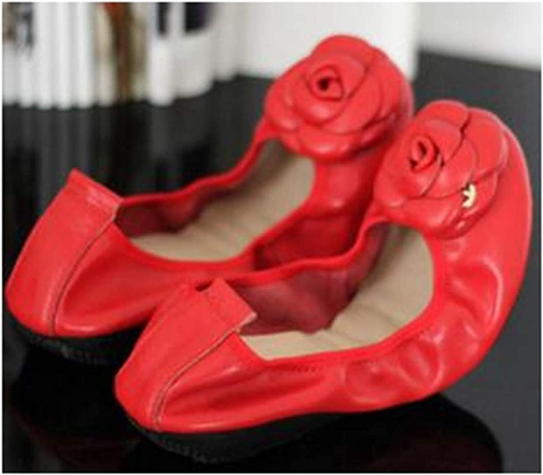 Women Genuine Leather Slip On Ballet Flats shoes for Women Slip-On Flowers Flat shoes