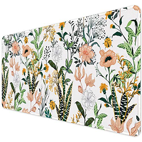 """ITNRSIIET Desk Pad, Mouse Pad,Office Desk Mat with Stitched Edges Non-Slip Waterproof, Easy Clean Desk Table Protector, Laptop Desk Writing Mat 35.4"""" x 15.7"""", Floral"""