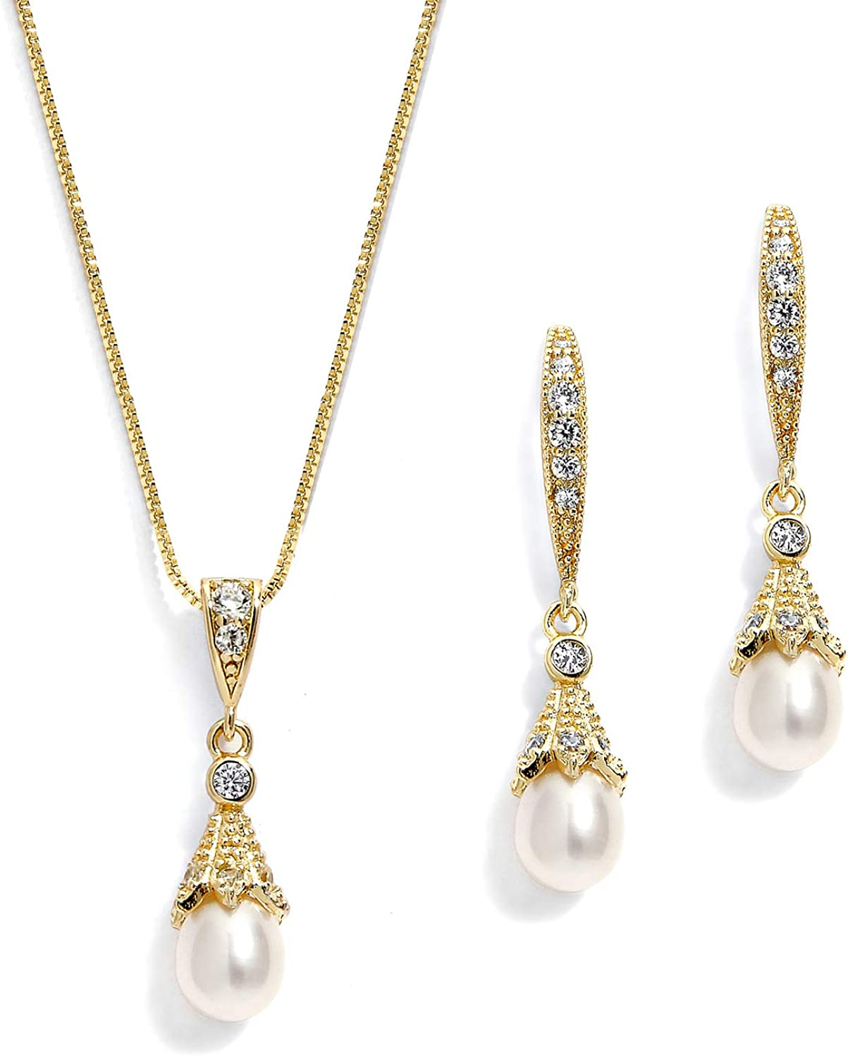 Mariell Gold Fashion Wedding Necklace Earrings Freshw Selling Set Jewelry with