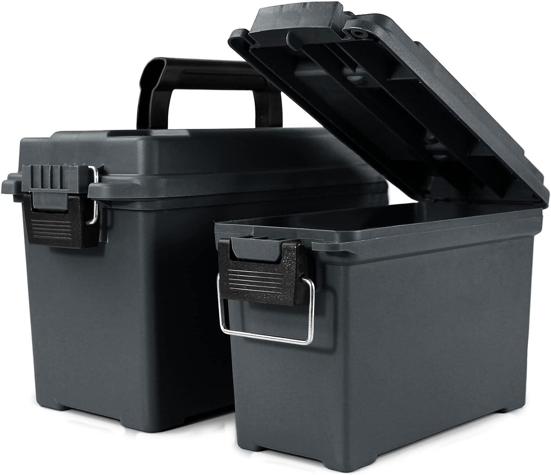 GUGULUZA Plastic Ammo Can 2-Pack, Waterproof Ammunition Storage