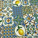 Kt KILOtela Tela de loneta Estampada - Retal de 100 cm Largo x 280 cm Ancho | Azulejos Limones - Azul, Amarillo, marrón ─ 1 Metro