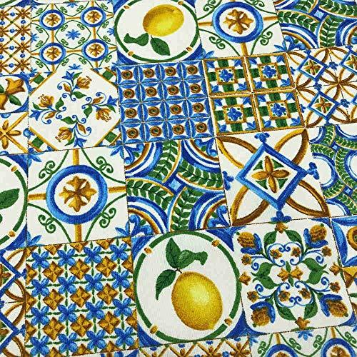 Kt KILOtela Tela por Metros de loneta Estampada - Ancho 280 cm - Largo a elección de 50 en 50 cm | Azulejos Limones - Azul, Amarillo, marrón
