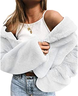 Howely Womens Pure Colour Faux Fur Fall Winter Fuzzy Trendy Comfort Coat Jacket