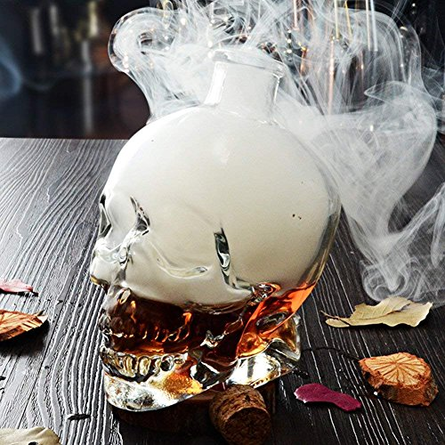 KICCOLY Neuheit Drinkware Glaswaren Skull Head Creative Flasche Glas Wein Flasche Whiskey Flasche Karaffe Dekanter Flasche Getr?nk Trinken Container Wasserkocher 750 ml farblos