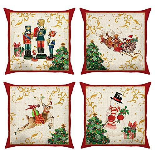 Bonhause Christmas Cushion Covers 18 x 18 Inch Set of 4 Santa Claus Christmas Reindeer Snowman Decorative Throw Pillow Covers Cotton Linen Pillowcases for Sofa Couch Car Bedroom Home Décor, 45 x 45 cm